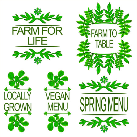 vignette: Typographic elements on white background. Vegan menu. Spring menu.  Restaurant labels. Locally grown. Farm for life. Farm to table. Suitable for ads, signboards, menu and web banner designs