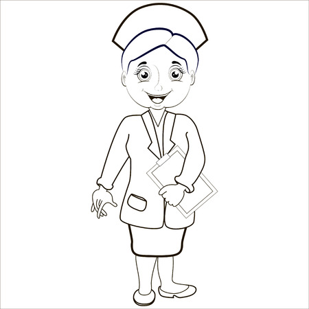 healthcare worker: Cartoon vector Illustration.Woman pharmacist in a pharmacy on the isolated background. Health care. Isolated.Black. Illustration