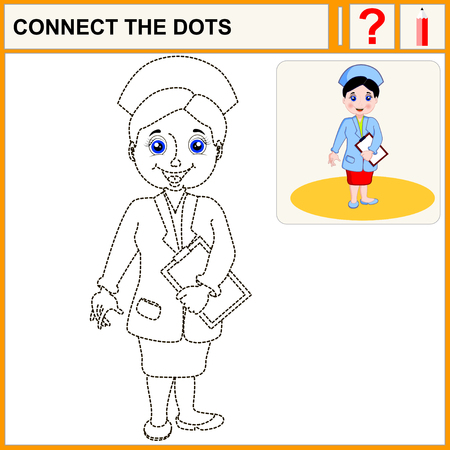 healthcare worker: Connect the dots. Cartoon vector Illustration.Woman pharmacist in a pharmacy on the isolated background. Health care. Isolated.Black.