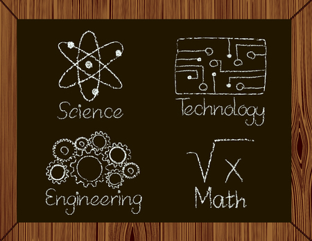 I cosiddetti soggetti STEM per l'apprendimento, la scienza, tecnologia, ingegneria e matematica scritti il ??gesso su una lavagna nera al fianco di simboli appropriati