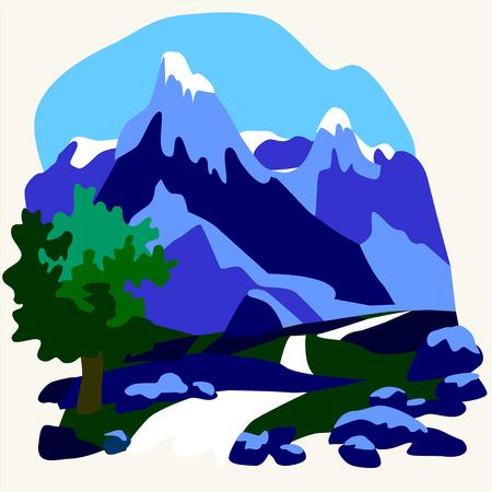 peak: Vector snow mountains peak alpine landscape outline illustration