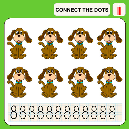 conundrum: Connect the dots, preschool exercise task for kids, numbers. Dog.