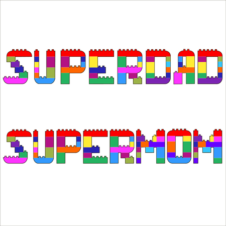 supermom: Supermom and Superdad Written in blocks, Comic Letters. Cartoon vector Illustration.