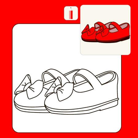 zapatos caricatura: Libro para colorear o página. ilustración vectorial aislado. Negro. Zapatos de bebé. Zapatos rojos. Vectores