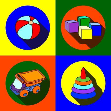 flat: Vector illustration toys for children icons flat. Illustration