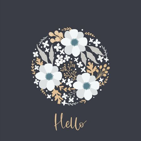 Floral inscription Hello. Greeting card, postcard, posters. Illustration