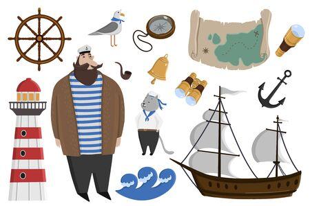 Vector marine set. Decorative pattern, captain, sailboat, anchor, steering wheel, steering wheel.