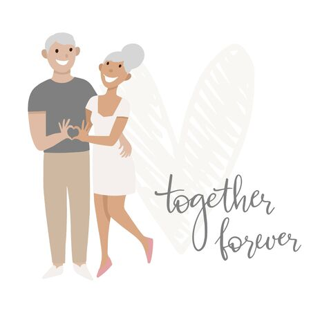 The couple in love. Show heart with his hands. Greeting card. Vector illustration. Foto de archivo - 133743120