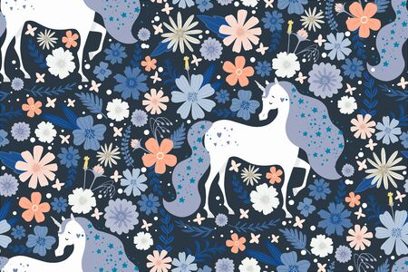 Magic unicorn surrounded by beautiful flowers. Seamless pattern. Illustration for children, for textiles. Çizim