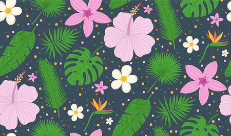 Seamless pattern with tropical leaves of palm tree and flowers. Vector background. Exotic plants. Summer vector background.