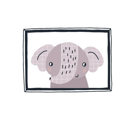 Baby print with a cute elephant in the frame.Hand drawn vector illustration in Scandinavian style design for kids. The concept for children's textiles, postcards, baby shower, babywear, nursery. Archivio Fotografico - 130917846