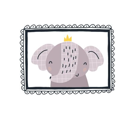Baby print with a cute elephant in the frame.Hand drawn vector illustration in Scandinavian style design for kids. The concept for childrens textiles, postcards, baby shower, babywear, nursery.