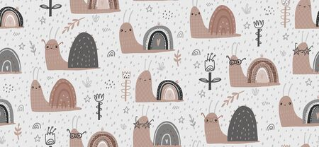 Hand drawn baby vector seamless pattern illustration with cute snails. Scandinavian style flat design. The concept for Wallpaper, cloth design, textile, wrapping, wallpaper, covers.