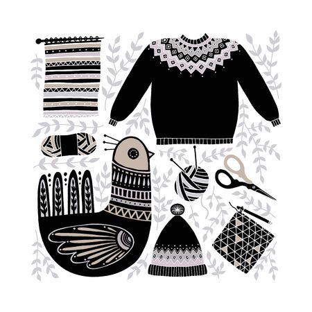 Folk art vector illustration with birds and a set of tools for knitting and crochet. Scandinavian hand-drawn design composition. Yarn, scissors, sweater, hat. Knit clip art. Векторная Иллюстрация