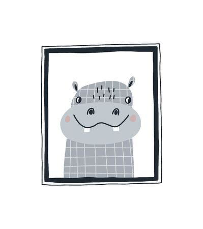 Baby print with a cute hippopotamus in the frame.Hand drawn vector illustration in Scandinavian style design for kids. The concept for childrens textiles, postcards, baby shower, babywear, nursery.
