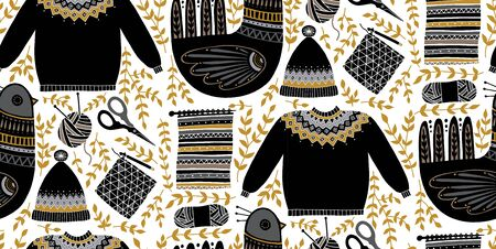 Folk art seamless pattern illustration with birds and a set of tools for knitting and crochet. Scandinavian hand-drawn design composition. Yarn, scissors, sweater, hat.