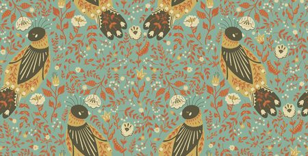 Seamless pattern illustration of a beautiful floral wreath with a cute folk bird. The concept for Wallpaper, cloth design, textile, wrapping, wallpaper, covers.