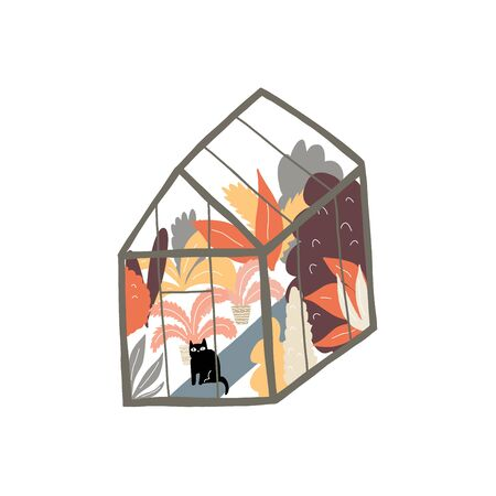 Greenhouse with plants and cute cat. Glasshouse concept. Hand drawn vector illustration with a botanical garden. It can be used in postcard, banner, poster, scrapbook, and use in your unique design.