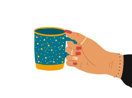 A female hand with a beautiful manicure, jewelry, and a clock holds a cup of tea. Side view. Trendy vector illustration in cartoon style. Flat design. 일러스트