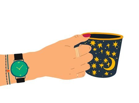 A female hand with a beautiful manicure, jewelry, and a clock holds a cup of tea. Side view. Trendy vector illustration in cartoon style. Flat design. Stock fotó - 137895137