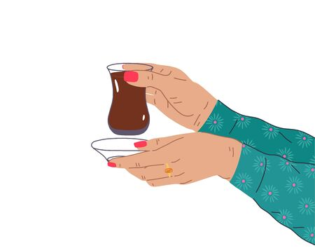 A female hand with a beautiful manicure and jewelry holds a cup of Turkish, Azerbaijani tea. Side view of hands holding armudu. Trendy vector illustration in cartoon style. Flat design. Çizim