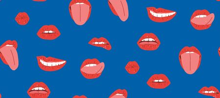 Red lips seamless pattern, great design for any purpose. Female mouths, teeth, tongue, kiss, smile, vector illustration. Textile print design. Pop art lips design.