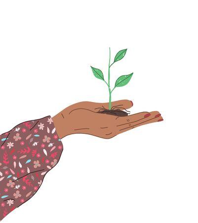 Una mano femminile tiene una giovane pianta per l'agricoltura o la semina, concetto di natura. Vista laterale. Illustrazione moderna disegnata a mano di vettore alla moda nello stile del fumetto. Design piatto.