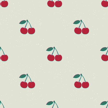 Hand drawn modern illustration with cherry. Vintage trendy vector seamless pattern in vibrant colors. Retro, pin-up repeating texture.  イラスト・ベクター素材