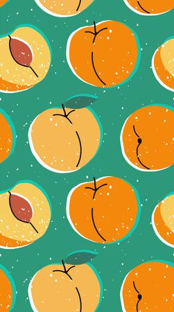 Hand drawn modern illustration with peach. Vintage trendy vector seamless pattern with apricot in vibrant colors. Retro, pin-up repeating texture.