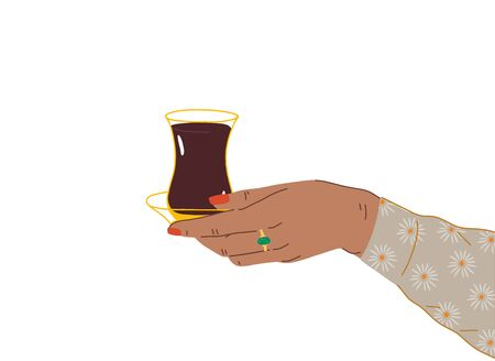 A female hand with a beautiful manicure and jewelry holds a cup of Turkish, Azerbaijani tea. Side view of hands holding armudu. Trendy vector illustration in cartoon style. Flat design.
