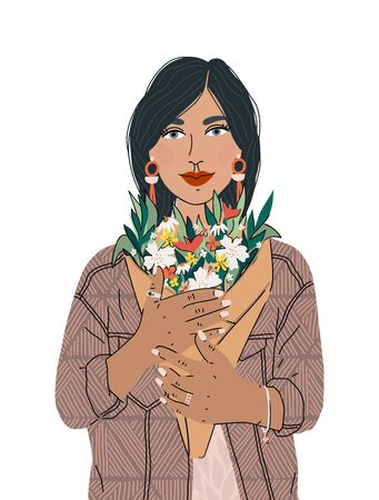 Beautiful girl holding a bouquet flower isolated on white background. Spring holiday, Happy mothers day. An illustration can be used for banner, poster, postcard and printable.
