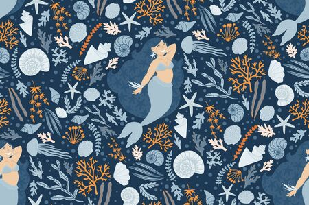 Cute seamless pattern with mermaids, plants, and shells. Can be used for baby t-shirt print, fashion print design, kids wear, baby celebration, fabric, and wrapping. Illustration