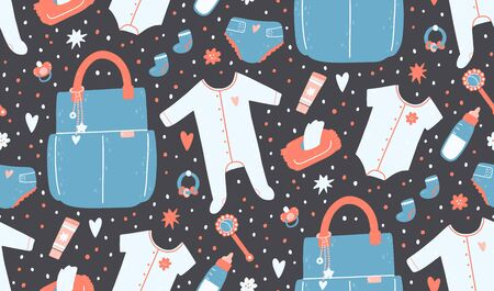 Seamless pattern with a bag, napkins, diapers, rattles, clothes, a bottle, cream. Baby care vector illustration. Ilustração