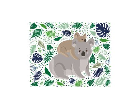 Cute koala with baby surrounded by leaves. Mother koala with her child. Background with a square frame. Can be used poster, greeting card, gift, banner, textile, T-shirt, mug.