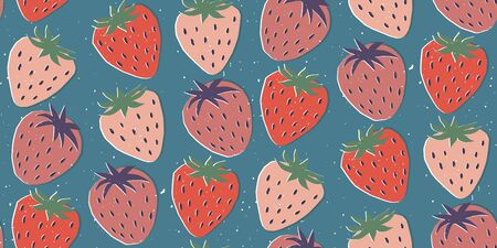 Hand drawn modern illustration with strawberry. Vintage trendy vector seamless pattern in vibrant colors. Retro, pin-up repeating texture.