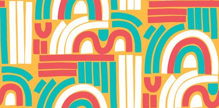 Trendy Memphis style seamless pattern. Colorful geometric seamless pattern in 80s-90s styles. Vector Illustration.