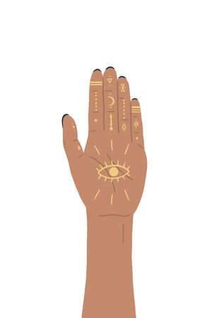 Vector illustration of henna mystic magic hands, moon, and geometric objects. Aztec style, tribal art, ethnic design isolated on white background.  イラスト・ベクター素材