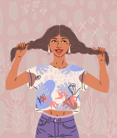 A beautiful happy girl shows tongue. A funny woman in a good mood holds her hair, two pigtails. Bright colors, illustration isolated on a white background.