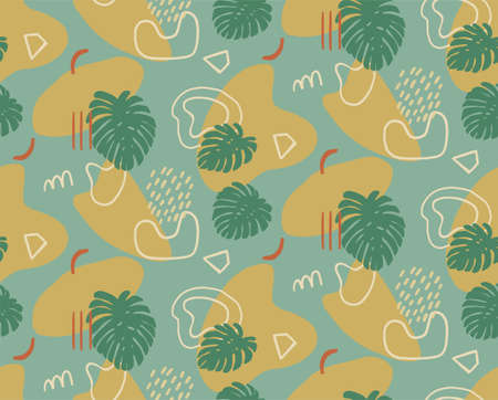Hand drawn modern illustration with fashionable abstract various shapes and tropical leaves, doodle objects. Abstract modern trendy vector seamless pattern. Retro, pin-up repeating texture. Ilustração