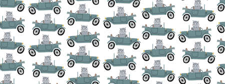 Cute hippo driving a retro car. Childrens hand draw vector seamless pattern illustration.