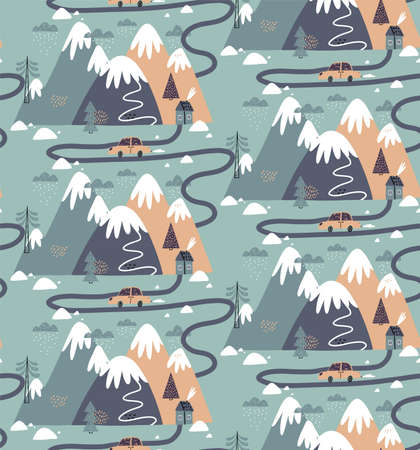 Seamless pattern with houses, mountains, trees, clouds, snow, house, and car. Hand drawn winter illustration in Scandinavian style for kids. For textiles, postcards, baby shower, babywear, nursery.