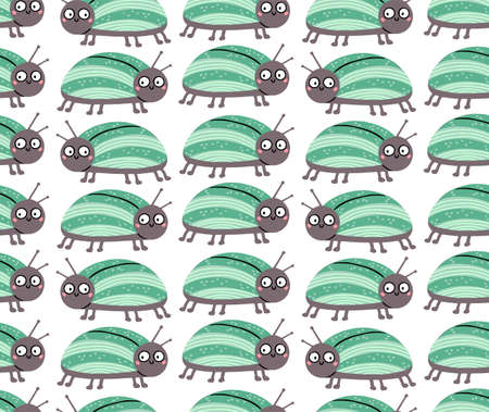 Seamless pattern with cute bug with funny surprised eyes. Vector illustration can be used for fabric, wrapping, wallpapers, web page backgrounds, textile.