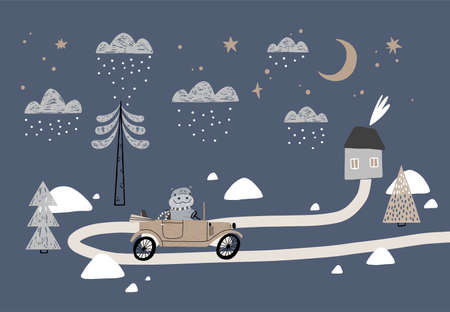 Vector illustration with houses, mountains, trees, clouds, snow, house, and vintage retro car. Winter illustration in Scandinavian style for kids. For textiles, postcards, baby shower, babywear.