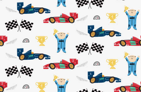 Seamless pattern with a cute bear racer, race cars, winner cup, speedometer, formula flags. Childrens illustration for cover, wallpaper, kids design.