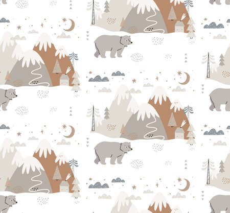 Seamless pattern with bear, mountains, trees, clouds, snow, and house. Hand drawn winter illustration in Scandinavian style for kids. For textiles, postcards, baby shower, babywear, nursery. Çizim