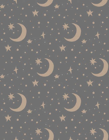 Hand drawn vector seamless pattern illustration of a night starry sky. Scandinavian style flat design for kids. The concept for childrens textile, wrapping, wallpaper, covers.