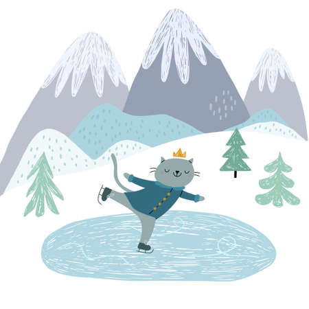 A cute cat is skating for ice. Against the background of the mountains. Winter illustration for children in a Scandinavian style. 向量圖像