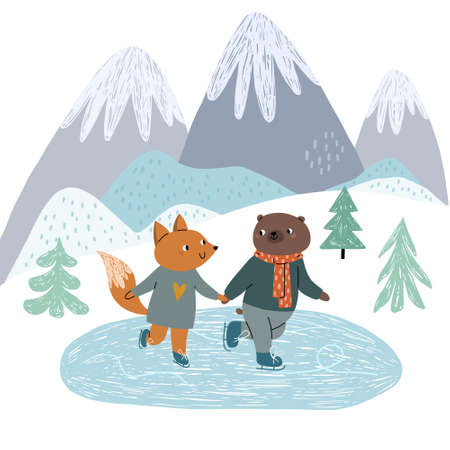 Cute fox and bear friends are skating on the ice, on the rink. Against the background of the mountains. Winter illustration for children in a Scandinavian style.