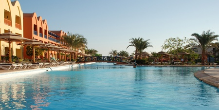 Territory of hotel at pool. Egypt. Hurgada.