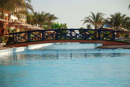 The bridge through pool in hotel territory. Egypt. Hurgada.